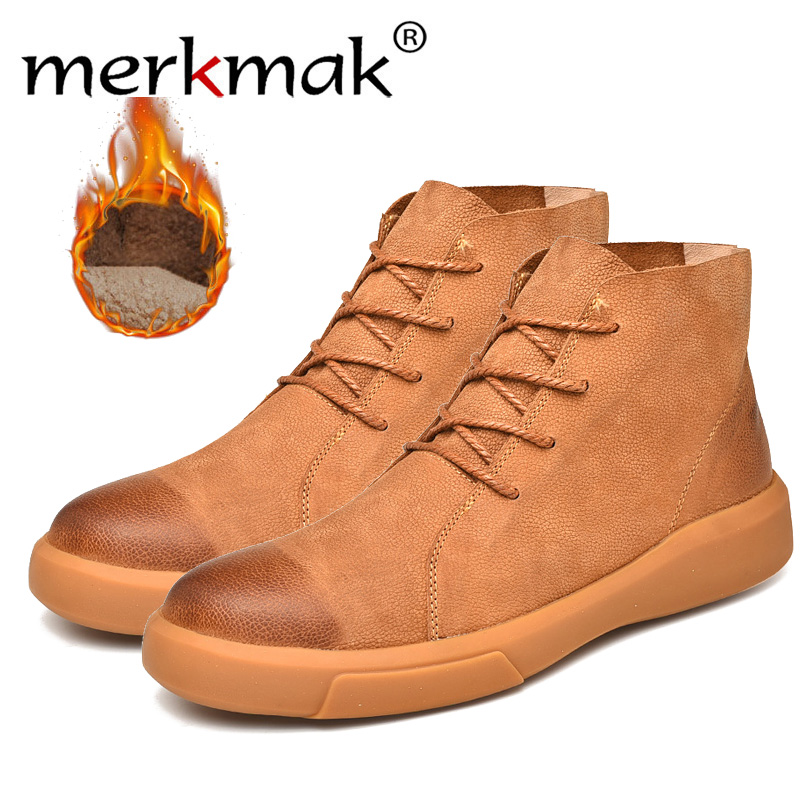Merkmak Winter Men Snow Boots Ankle Boots Man Genuine Leather Plush Warm Men Motorcycle Boots Autumn Outdoor Man Shoe Size 38-47