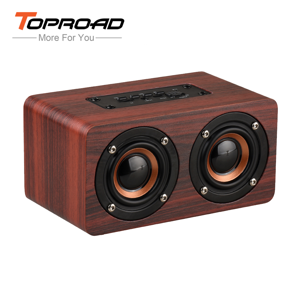 toproad hifi wood wireless enceinte bluetooth speaker. Black Bedroom Furniture Sets. Home Design Ideas