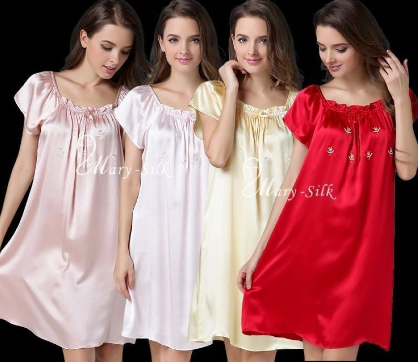 Women Silk Satin Sleepshirt Nightdress Nightgown Lingerie Sleepwear Loungewear Pajamas__6 Colors