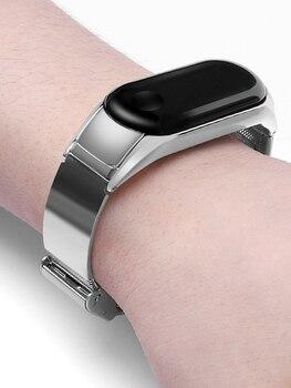 For Mi Band 3 4 Wrist Strap Metal Screwless Stainless Steel For Xiaomi Mi Band 4 Strap Bracelet Miband 3 Wristbands Accessories strap for xiaomi mi band 4 3 wrist metal bracelet screwless stainless steel for xiaomi mi band 3 strap wristbands pulseira belt
