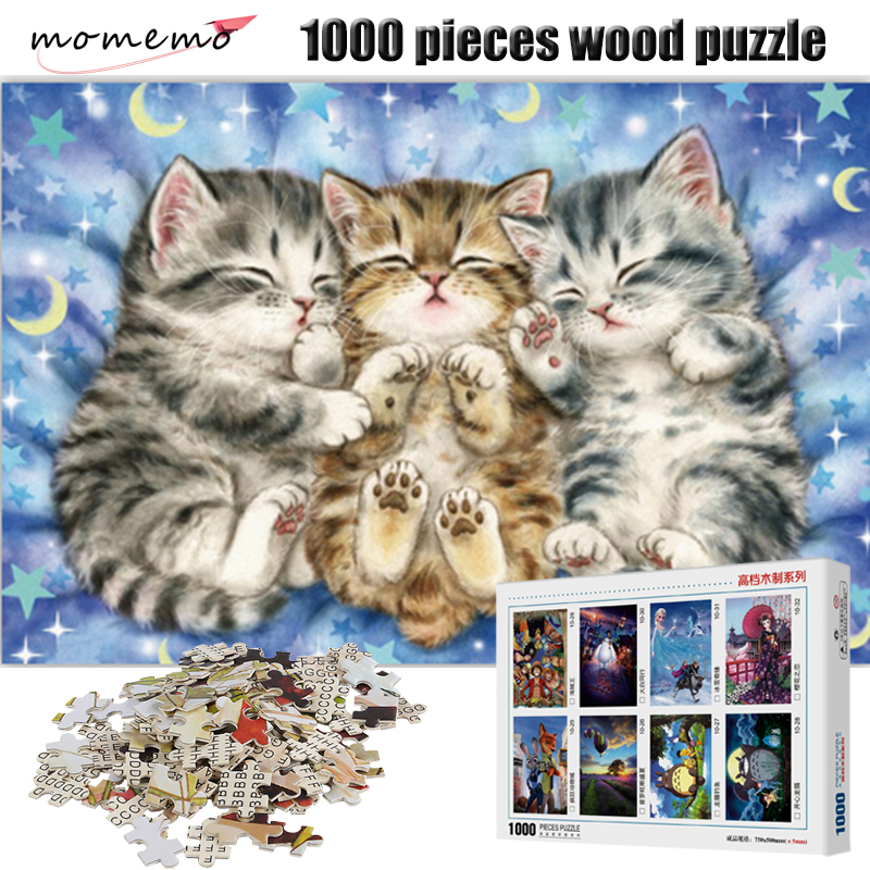 MOMEMO Cute Sleeping Cat Figure 1000 Pieces Wooden Puzzle Entertainment Jigsaw Puzzle for Adult Assembling Toys Kids Gifts