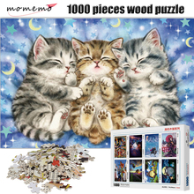 MOMEMO Cute Sleeping Cat Figure 1000 Pieces Wooden Puzzle Entertainment Jigsaw Puzzle for Adult Assembling Toys Kids Gifts momemo the cat and night sky pattern puzzle 1000 pieces wooden adult entertainment puzzle 1000 pieces puzzle assembling game