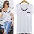 Большой размер XL-5XL свободного покроя майка для больших женщин хлопка майка V шеи карманный женщины топы белый футболка с коротким рукавом T6519