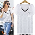 Plus Size XL-5XL Casual T shirt For Big Women Cotton T shirt V neck Pocket Women Tops White T shirt Short Sleeve T6519