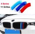 3D Stile M Griglia Anteriore Strip grill Copertura Adesivi Per 2014-2017 BMW serie 4 F33 F32 F36 420 425 430 435 (11 Griglie)