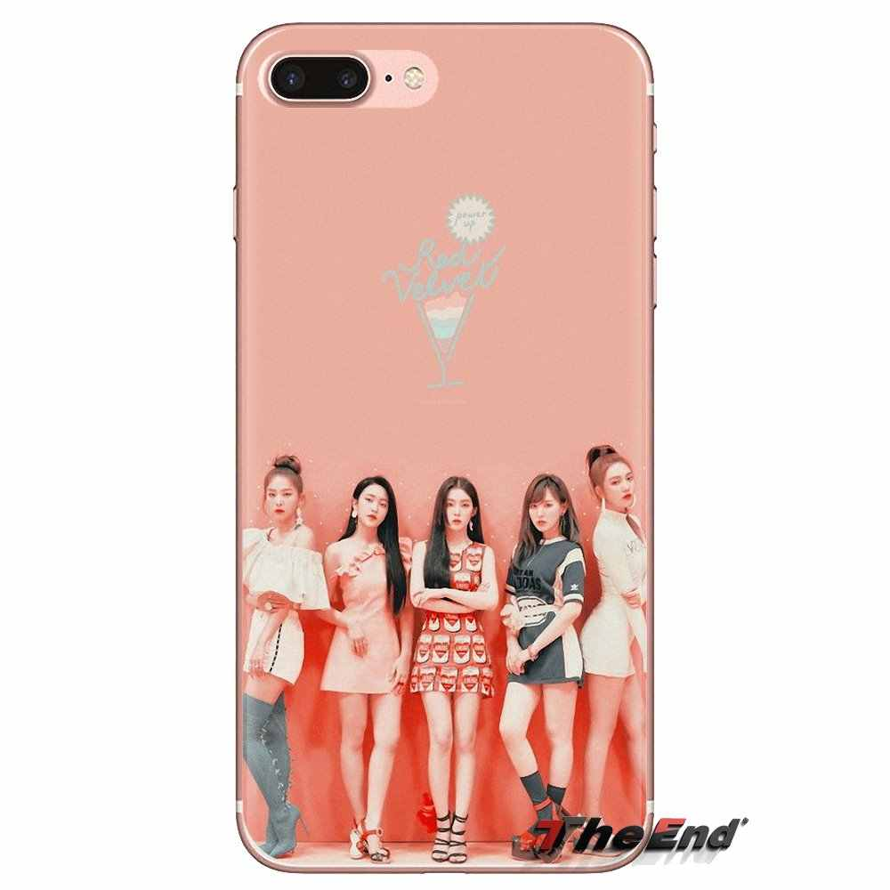 Untuk Samsung Galaxy S3 S4 S5 Mini S6 S7 Edge S8 S9 S10 Plus Catatan 3 4 5 8 9 beludru Merah Kpop Gadis Transparan Soft Shell Cover