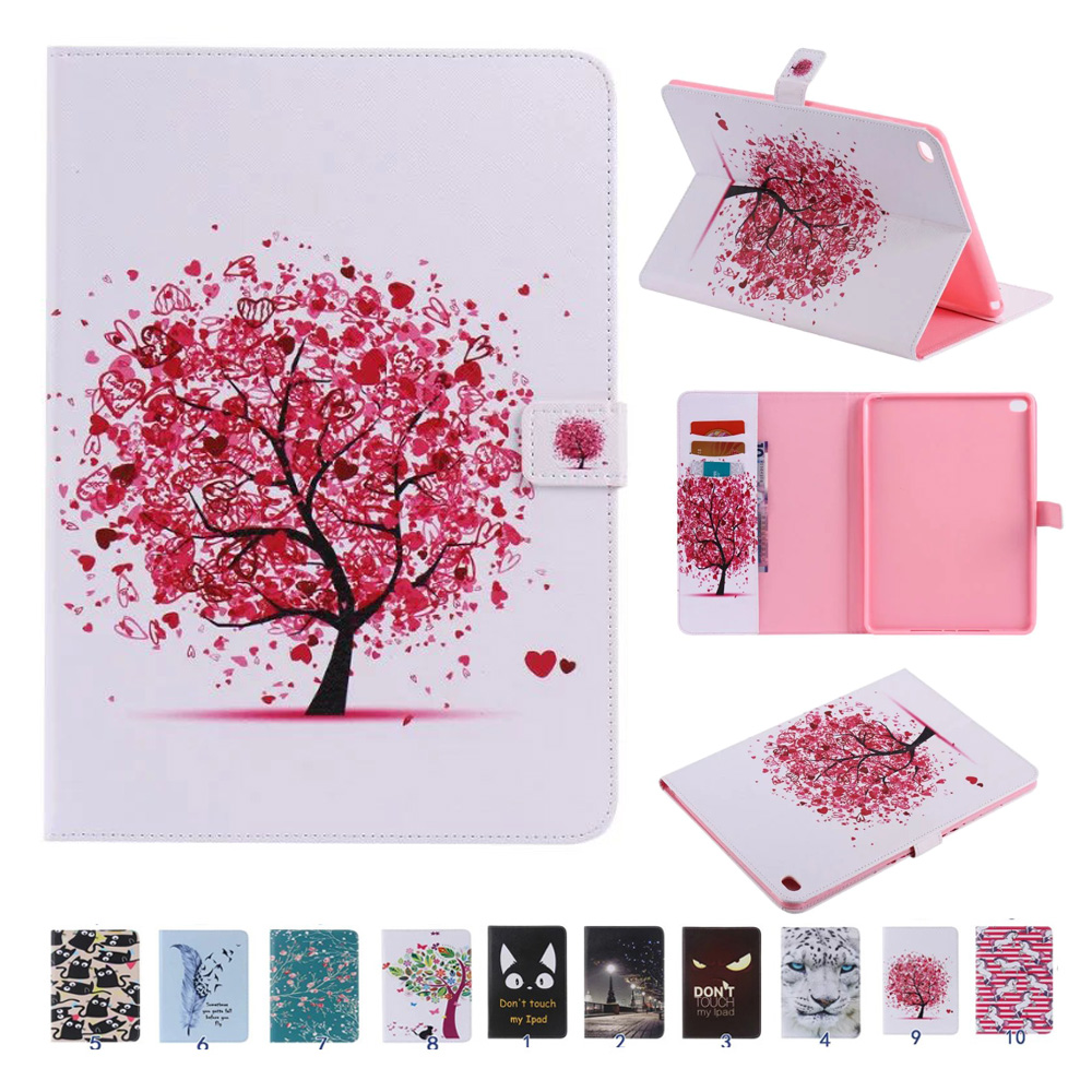 For Coque iPad Air 2 Cover Case Sleep Wake Up Function Colorful Painting Folio PU Leather Stand Wallet Cases for iPad 6 Air 2