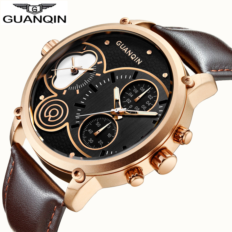 GUANQIN Quartz Watch Man Big Dial Creative Mens Watches Leather Chronograph Luminous Sport Men Clock Waterproof Wristwatches New