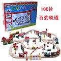 Juegos de rol Compatible con Thomas vía del tren tren de madera 100 grandes bloques de construcción de juguetes educativos para niños en stock