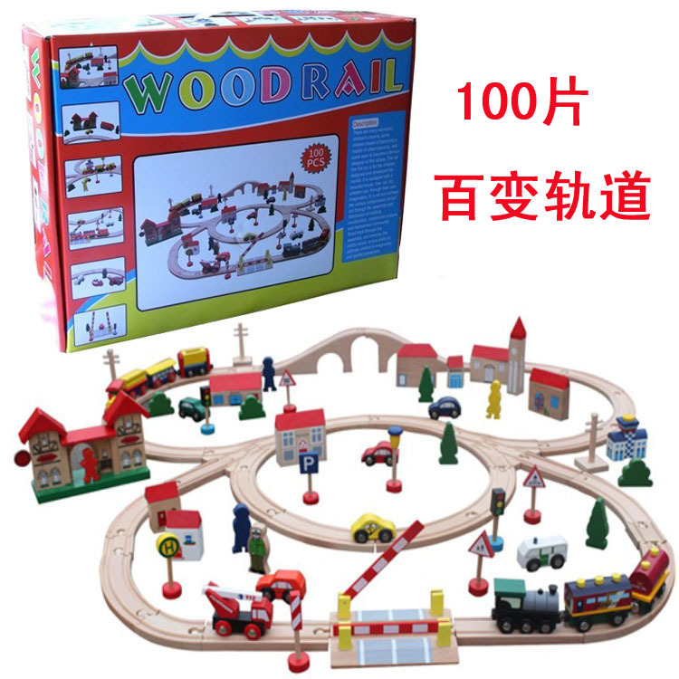 Role play wooden 100 large railway track Compatible with Thomasw train children's educational building blocks toys