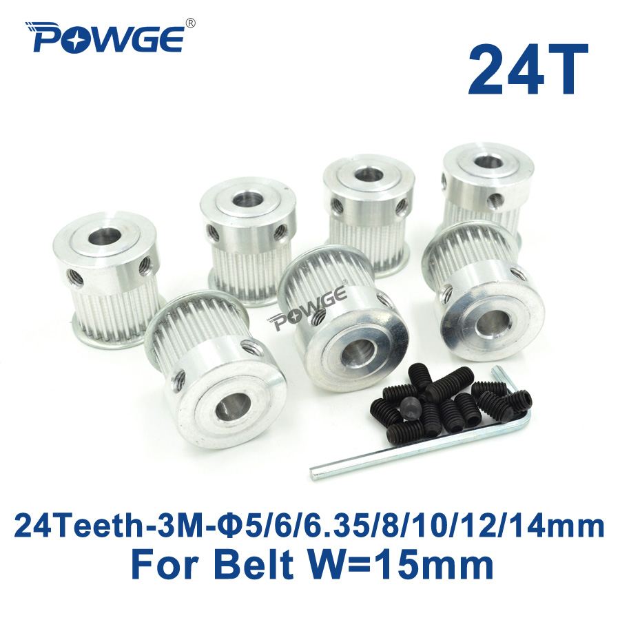POWGE 7pcs 24 Teeth HTD 3M Timing Pulley Bore 5/6/6.35/8/10/12/14mm for Width 15mm 3M Synchronous belt HTD3M Pulley 24T 24Teeth powge 1pcs steel 18 teeth htd 3m timing pulley bore 8mm for width12mm 3m timing belt rubber htd3m pulley belt tooth 18t 18teeth