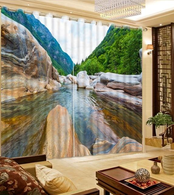 cheaper dd58c c173e US $61.2 49% di SCONTO Moderno 3D Photo Tenda cascate di montagna paesaggio  Ganci Tenda Tessuto Tenda Per soggiorno camera Da Letto in Moderno 3D ...