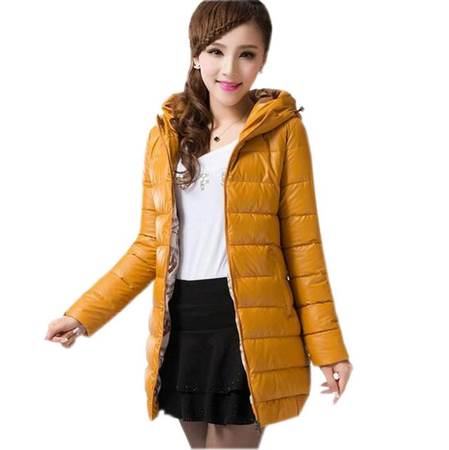 winter down cotton jacket coat women's pu medium long slim wadded parkas women plus size 4xl padded overcoat women coat kl0529