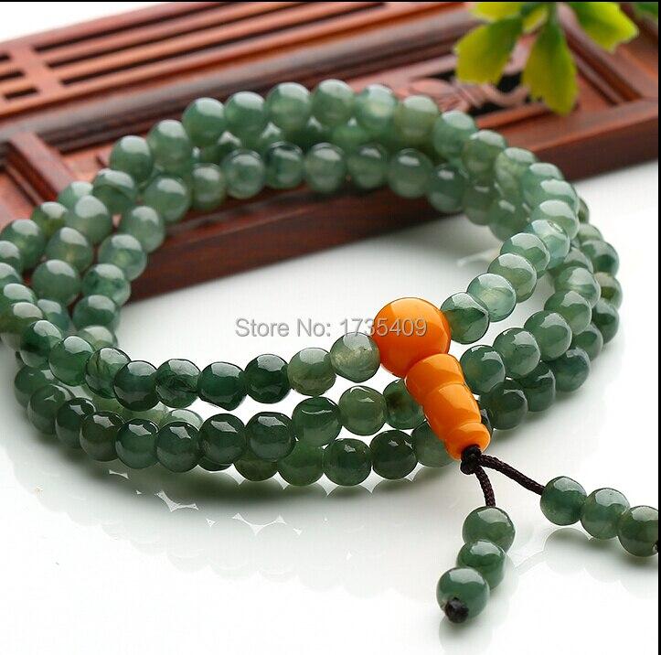 19 pouces longueur 100% vert naturel/jadéite vert 5mm collier de perles