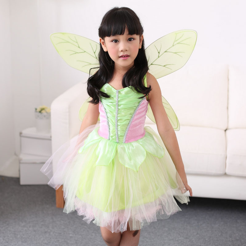 Girl's Fairy Tale Green Tinkerbell Costume Kids Halloween Tinker Bell Cosplay Fancy Dress S-L