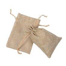 10x15cm 100pcs/lot Jute Pouch linen Hessian hemp drawstring small gift packaging Bag Wedding ring jewelry packing pouch