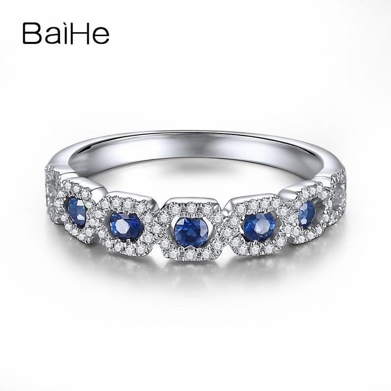 BAIHE Solid 18 К белого золота 0.32CT Certified H/SI круглый 100% из натуральной сапфира ...