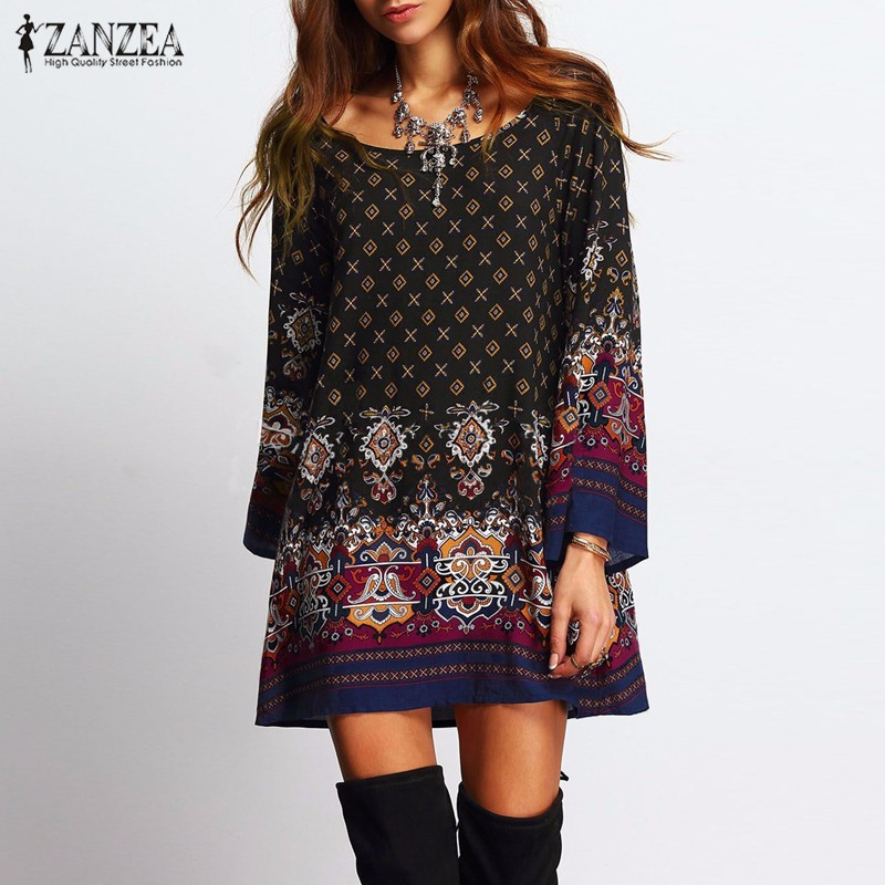 ZANZEA Women Dress 2018 Ladies Sexy Mini Vintage Print Dress O Neck Long Sleeve Floral Casual Etnisk Kort Veatidos