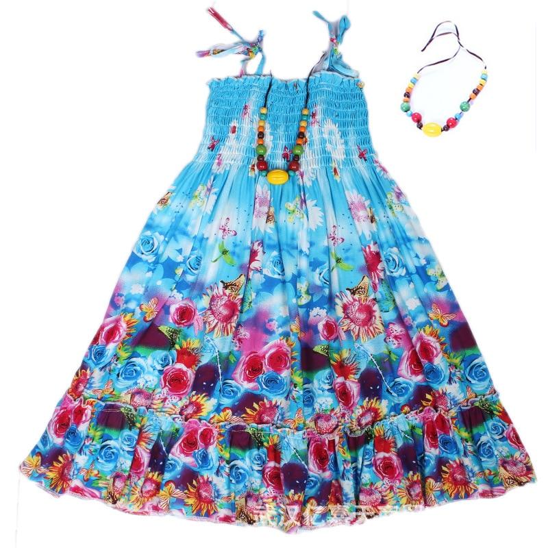 Muchachas del verano de Estilo Bohemio Vestido de Playa Floral Sin Hombro Rebordear Collar vestido de Tirantes Del Vestido Ocasional Niños Vestido Infantil Ropa