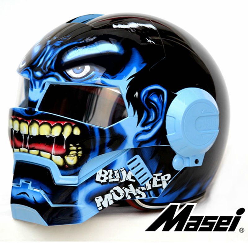 Blue Giant Hulk MASEI 610 motorcycle helmet IRONMAN Iron Man helmet half helmet open face helmet casque motocross masei mens womens war machine gray ironman iron man helmet motorcycle helmet half helmet open face helmet abs casque motocross
