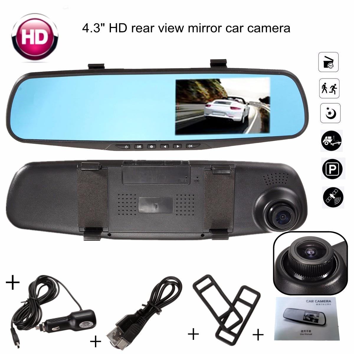4.3 Inch FHD 1080P Video Recorder Dash Cam Rearview Mirror Car Camera DVR Digital Video Recorder 170 Degree