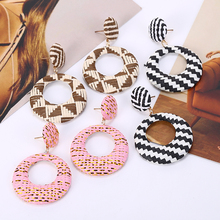 Bohopan fashion Rattan Weave Dangle Earrings For Women Round wood Drop Accessories Wedding Jewelry