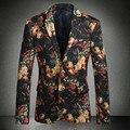 2016 Homens Blazers Florais e Jaquetas dos homens Moda Casual Fino Fit Tamanho Grande Jaquetas de Manga Longa Blazers Ternos Vestido Formal homens