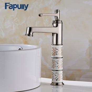 Fapully Gold Basin Faucet Bathroom Single handle Diamond And Porcelain Basin Mixer Tap Bathroom Sink Faucet 154-22N