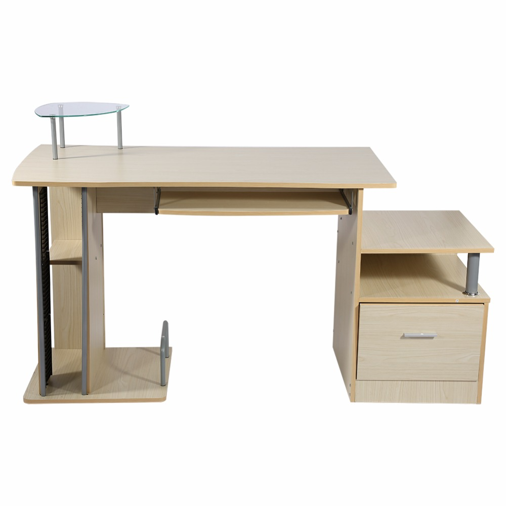 Wood Computer desk table office workstation study writing PC furniture drawers Modern Home Office With Storage Rack