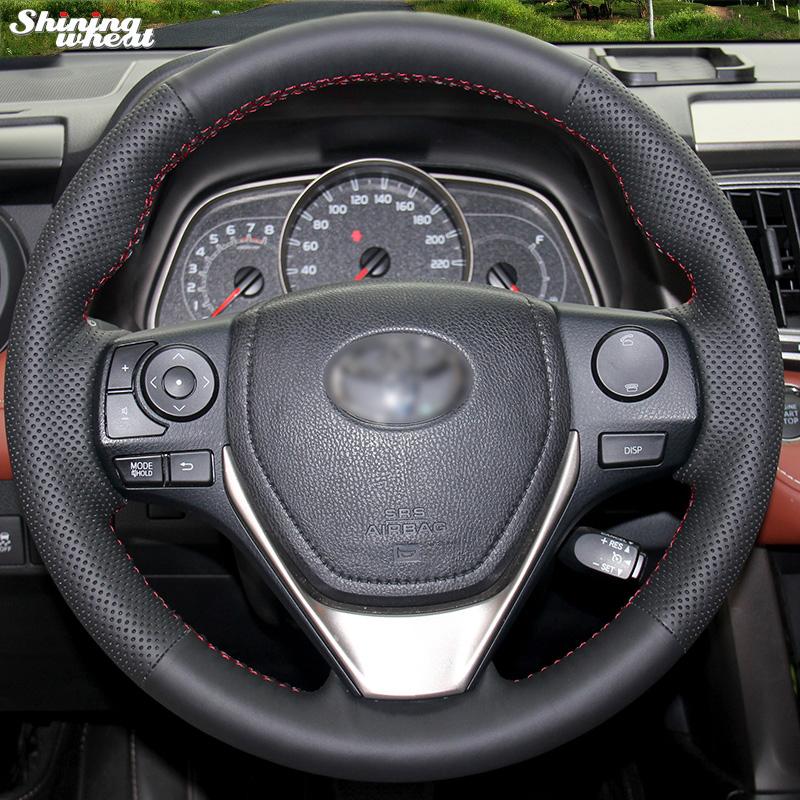 Prix pour Brillant blé cousu Main En Cuir Noir Volant pour Toyota RAV4 2013 2014 Toyota Corolla Voiture