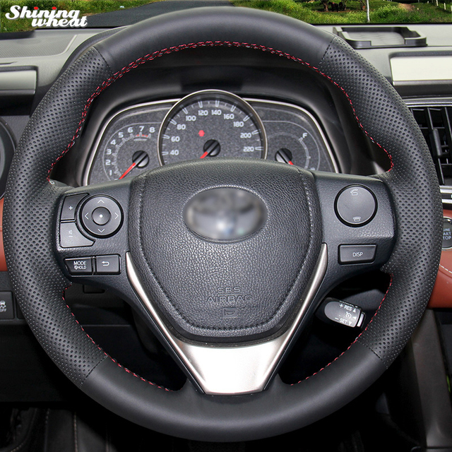 Shining Wheat Black Artificial Leather Steering Wheel Cover For Toyota Rav4 2017 2018 Corolla Auris 16