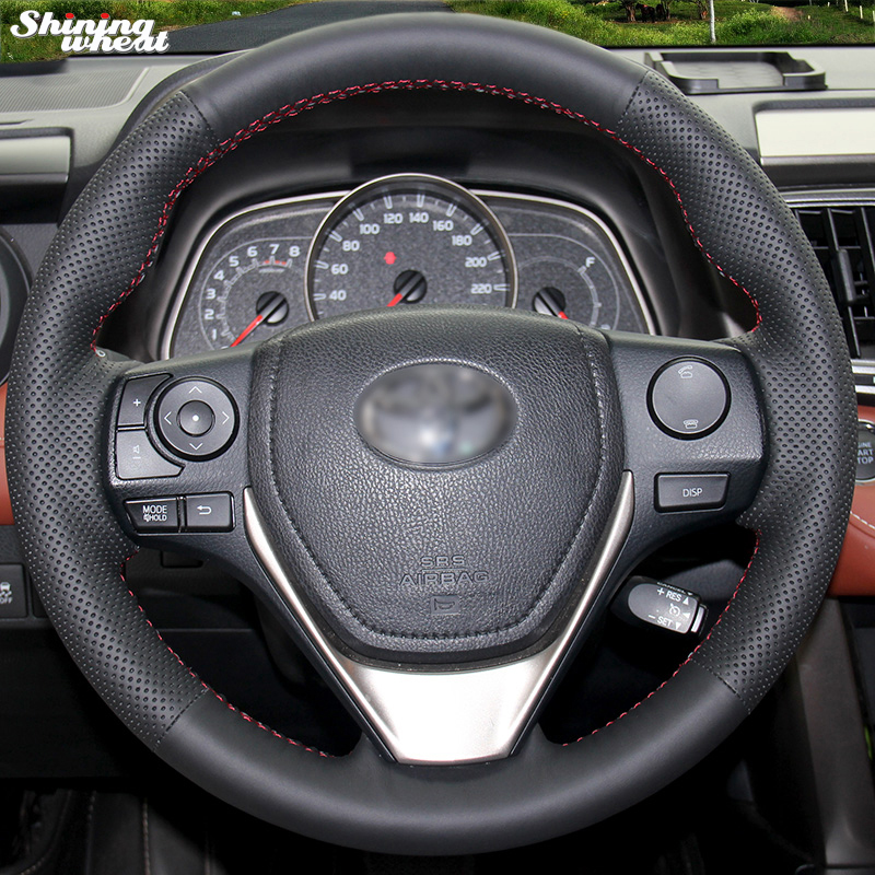 Shining wheat Hand-stitched Black Leather Steering Wheel Cover for Toyota RAV4 2013-2018 Toyota Corolla 2014-2017 Auris 2013-16