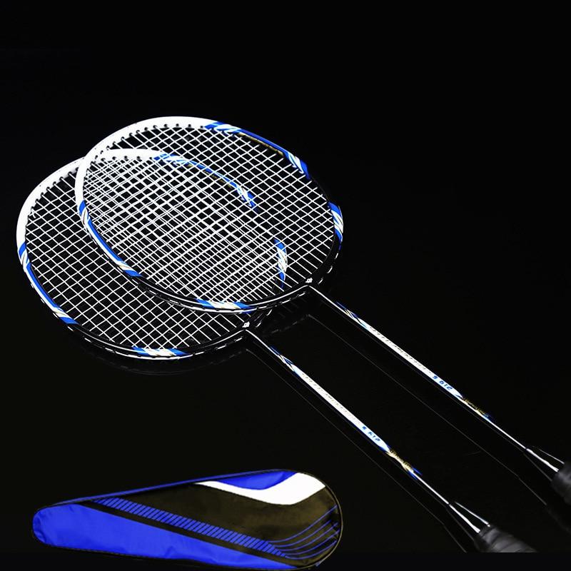 2 Pcs Full Carbon Fiber Badminton Rackets 3U Offensive Outdoor Sport Tools Racquette Bag Kit Amateur Intermediate Senior Racquet