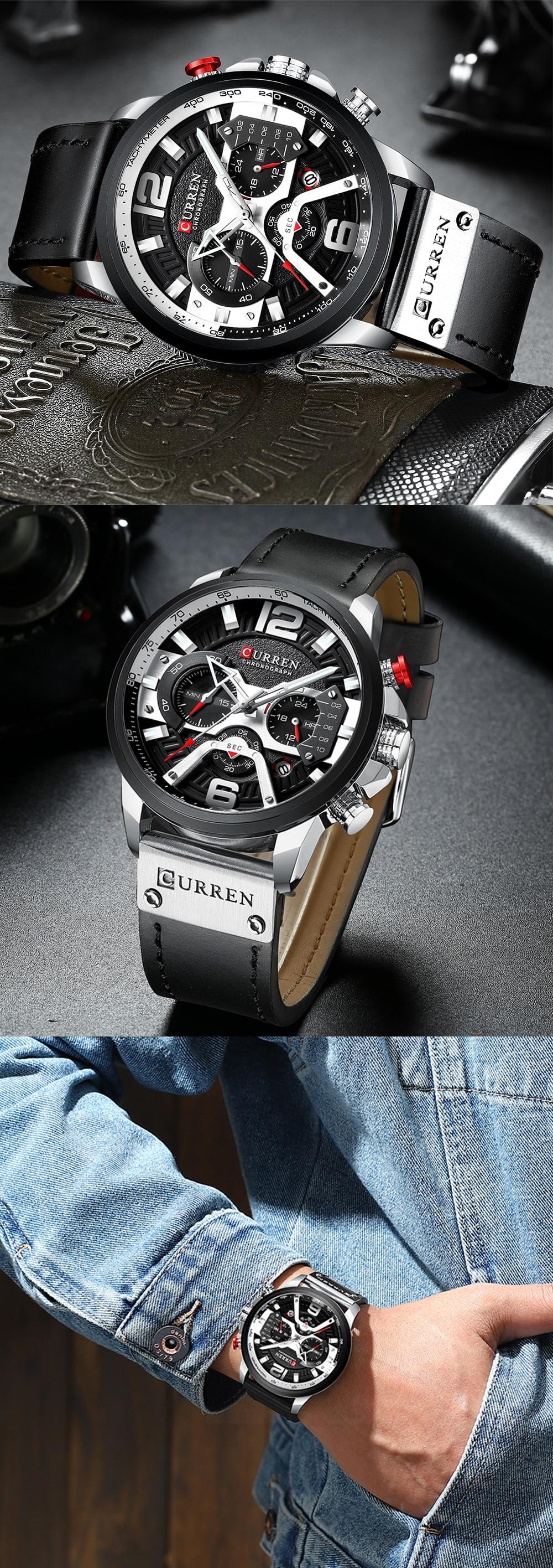 HTB1Mqt8KAzoK1RjSZFlq6yi4VXad CURREN Casual Sport Watches for Men Blue Top Brand Luxury Military Leather Wrist Watch Man Clock Fashion Chronograph Wristwatch