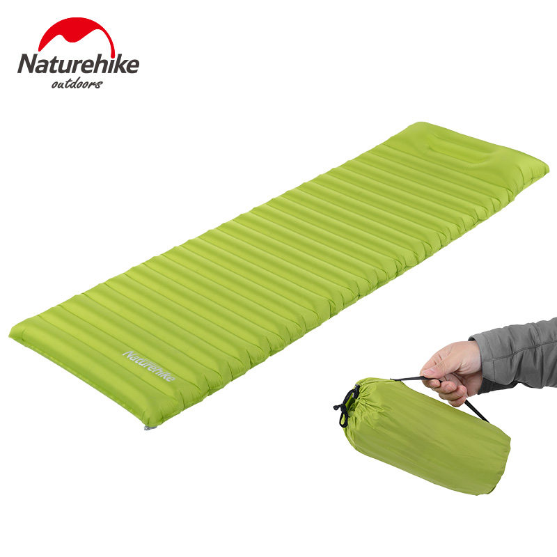 ФОТО 550g Lightweight Inflatable Mattress Sleeping Pad Fast Filling Air Bag With Pillow Easy Carry Outdoor Furniture Garden Sofa NH