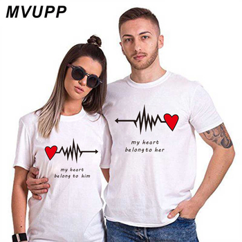 Love Heart Couples Lovers T-Shirt Summer Casual Cotton Letter Print Black Tshirts Short Sleeve Tees Tops boyfriend Lady Clothes 1