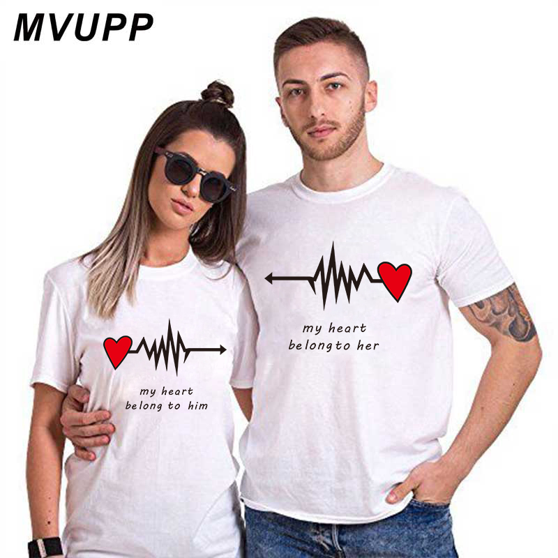 Love Heart Couples Lovers T-Shirt Summer Casual Cotton Letter Print Black Tshirts Short Sleeve Tees Tops Boyfriend Lady Clothes