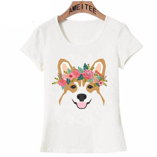 8183a2d23c Corgi head floral crown dog breed gifts for welsh corgis T Shirt Fashion  Women T-Shirt casual Tees Summer Tops Ladies T-Shirt