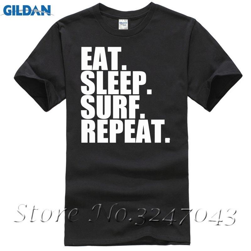 Harajuku Funny Rick Tee Shirts Eat. Sleep. Surfer. Repeat. Surfer Board Wave Mens T-Shirt