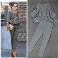 Primavera Outono Moda Calças Ternos de Negócio das Mulheres Houndstooth Checker Pattern Ruffles Ternos Para Mulheres 2 Peças Set