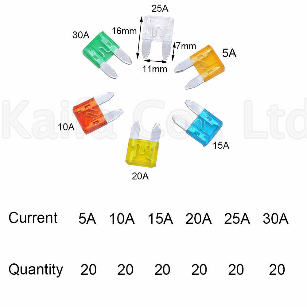 hight resolution of  new small 120pcs auto automotive car boat truck blade fuse box assortment 5a 10a 15a 20a