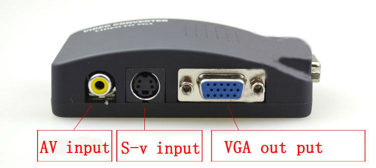 TV DVD AV Composite RCA S-Video To VGA Monitor PC Video Adapter Converter Switch Box