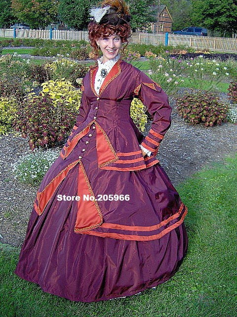 US $300 0 |Aliexpress com : Buy 1800s Victorian Gown 1867 Walking Traveling  Suit 1860s Civil War Dress with Jacket Bodice/Party costume from Reliable