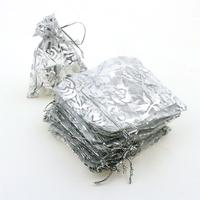 7x9cm Silver Rose Bronzing Organza Jewelry Packaging Bags Small Drawstring Pouches Cheap Pouches Bags 500pcs Lot