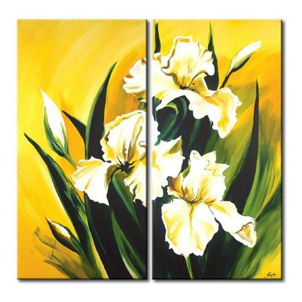 2 Panels White Lilium Brownii Floral Oil Painting White Flower Oil