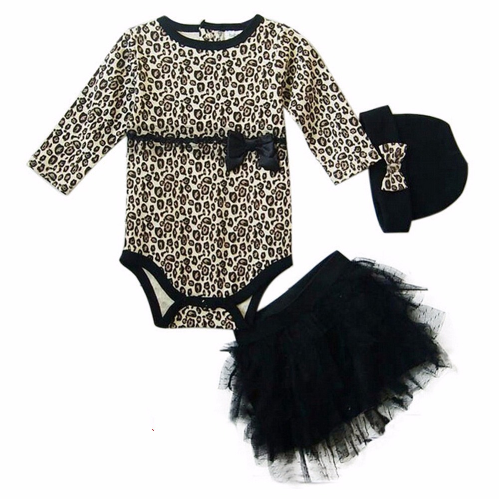 Leopard Baby Girl Clothes 3 PC Sets:Long Sleeved Rompers + Tutu Skirt Dress+Headband(hat) Autumn Kids Girls Clothing Suit