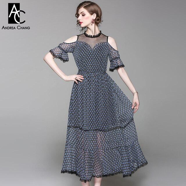 b622e01f2ce Printemps été piste designer femmes robe noir col en dentelle blanc bleu  motif étoile imprimer off