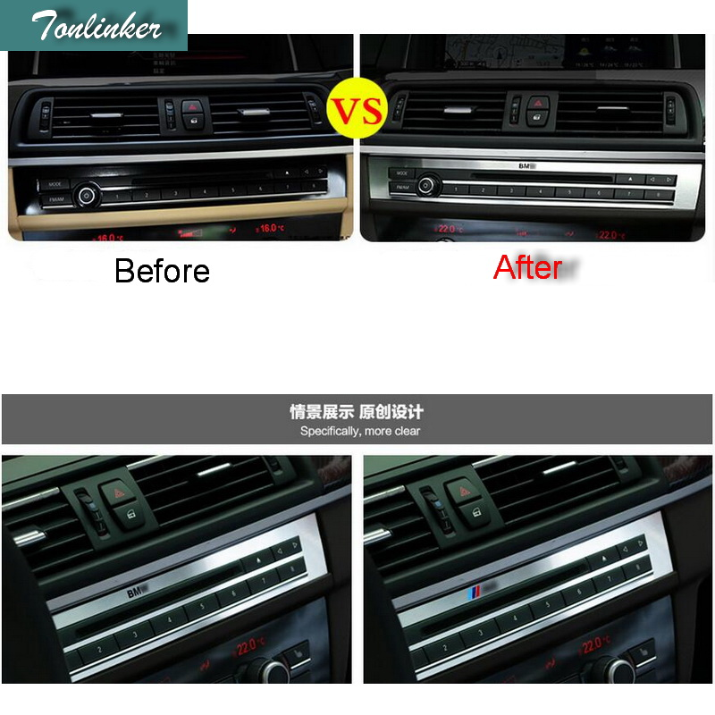 Tonlinker 1 stücke Auto Styling DIY Edelstahl In Die Steuerung CD Lichter Panel Abdeckung Fall Aufkleber Für Bmw 5 serie Zubehör