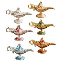 Metal Genie Lamp Light Wishing Teapot Retro Furnishing Articles Pot Decoration Home Ornaments