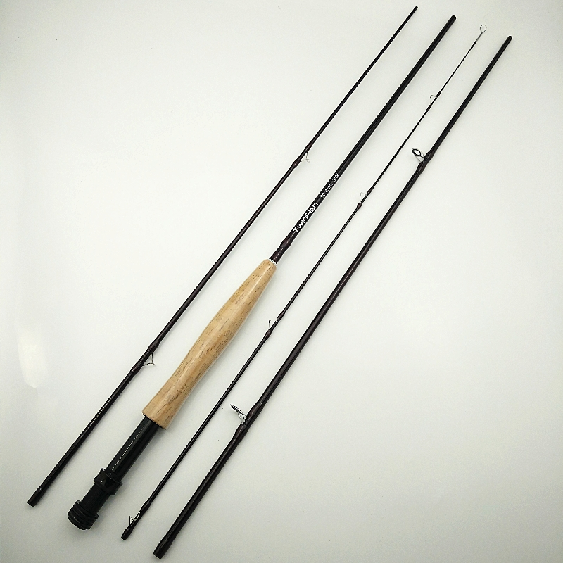Twinfish fly fishing rod 4 sections flying rods 3/4# 5/6# brown color soft fish pole 2.4m 2.7m 8 feet 9
